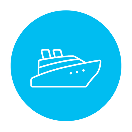 Cruise ship line icon for web, mobile and infographics. Vector white icon on the light blue circle isolated on white background.
