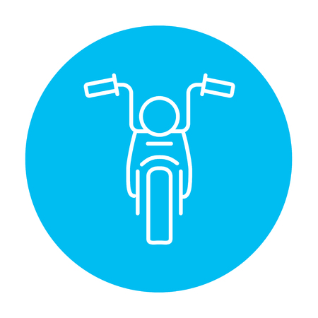 motor sport: Motorcycle line icon for web, mobile and infographics. Vector white icon on the light blue circle isolated on white background.