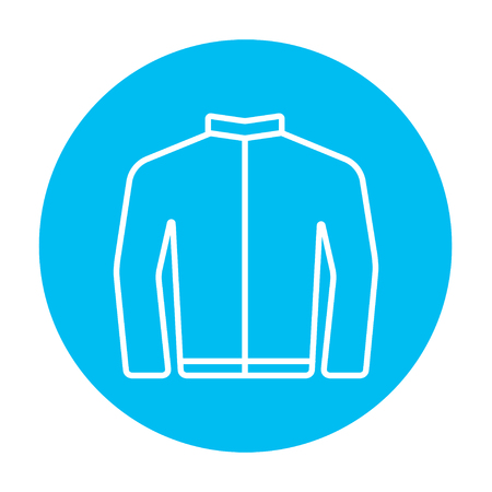 web icons: Biker jacket line icon for web, mobile and infographics. Vector white icon on the light blue circle isolated on white background.