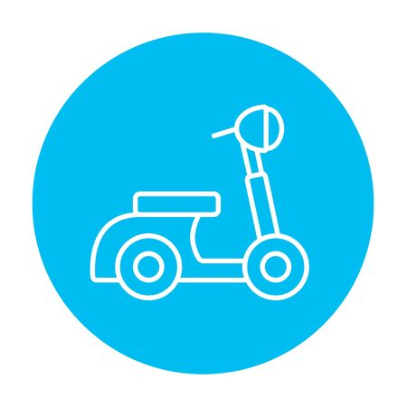 bicycle icon: Scooter line icon for web, mobile and infographics. Vector white icon on the light blue circle isolated on white background.