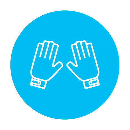 Motorcycle gloves line icon for web, mobile and infographics. Vector white icon on the light blue circle isolated on white background.