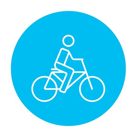 Man riding a bike line icon for web, mobile and infographics. Vector white icon on the light blue circle isolated on white background.