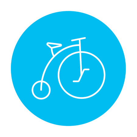 velocipede: Old bicycle with big wheel line icon for web, mobile and infographics. Vector white icon on the light blue circle isolated on white background. Illustration