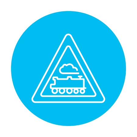 railtrack: Train sign line icon for web, mobile and infographics. Vector white icon on the light blue circle isolated on white background. Illustration