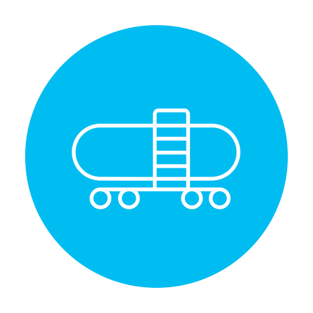 cistern: Railway cistern line icon for web, mobile and infographics. Vector white icon on the light blue circle isolated on white background. Illustration