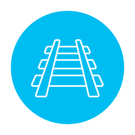 railway track: Railway track line icon for web, mobile and infographics. Vector white icon on the light blue circle isolated on white background. Illustration