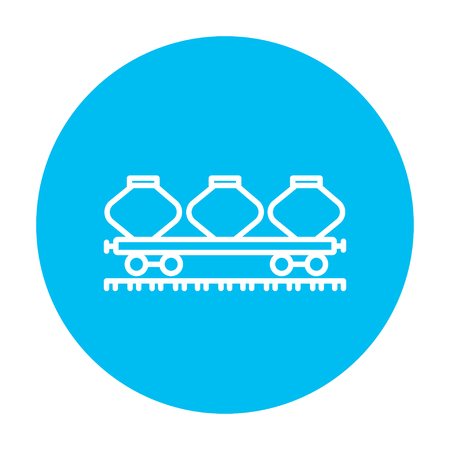 hauling: Cargo wagon line icon for web, mobile and infographics. Vector white icon on the light blue circle isolated on white background.