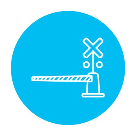 Railway barrier line icon for web, mobile and infographics. Vector white icon on the light blue circle isolated on white background.