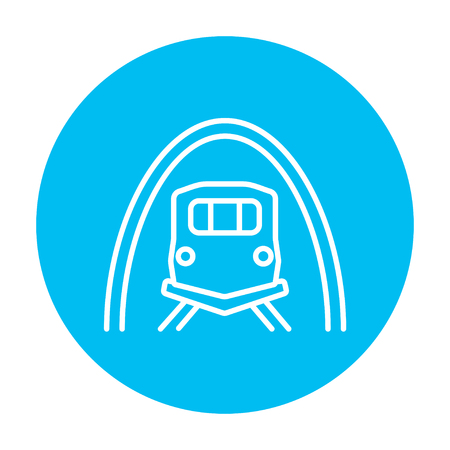 Railway tunnel line icon for web, mobile and infographics. Vector white icon on the light blue circle isolated on white background. 向量圖像