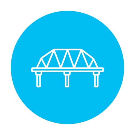 Rail way bridge line icon for web, mobile and infographics. Vector white icon on the light blue circle isolated on white background.