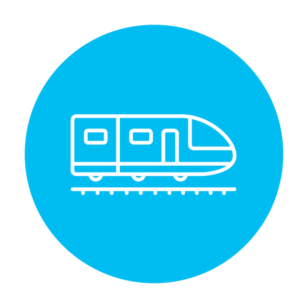 high speed: Modern high speed train line icon for web, mobile and infographics. Vector white icon on the light blue circle isolated on white background.