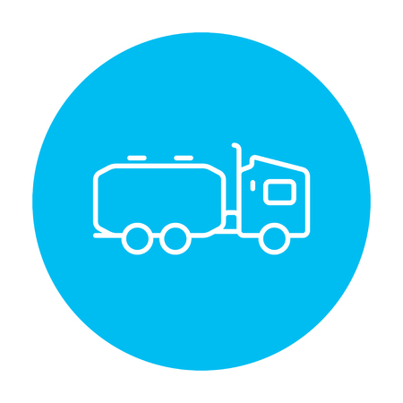 Truck liquid cargo line icon for web, mobile and infographics. Vector white icon on the light blue circle isolated on white background. 向量圖像