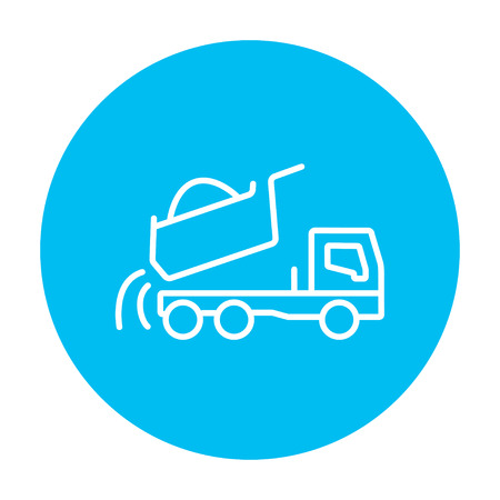 quicksand: Dump truck line icon for web, mobile and infographics. Vector white icon on the light blue circle isolated on white background.