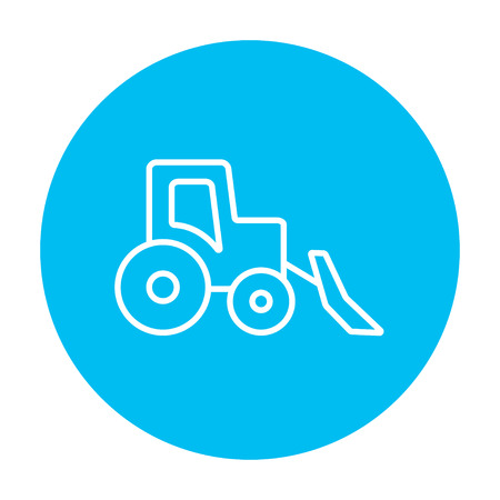 Bulldozer line icon for web, mobile and infographics. Vector white icon on the light blue circle isolated on white background.