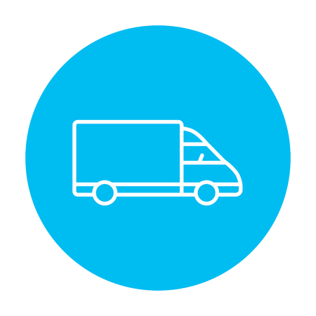 web graphics: Delivery truck line icon for web, mobile and infographics. Vector white icon on the light blue circle isolated on white background. Illustration