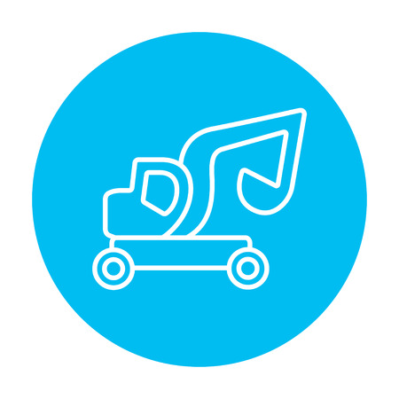 Excavator truck line icon for web, mobile and infographics. Vector white icon on the light blue circle isolated on white background.
