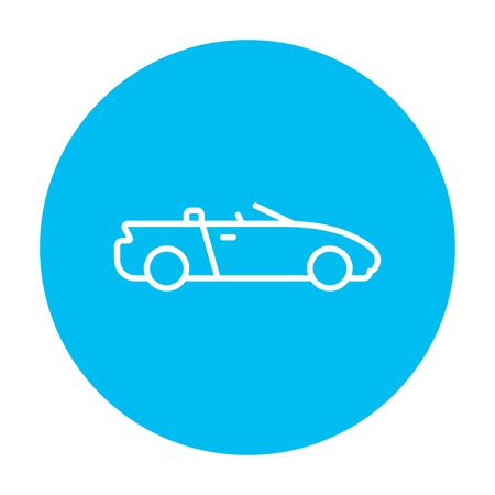 convertible car: Convertible car line icon for web, mobile and infographics. Vector white icon on the light blue circle isolated on white background.