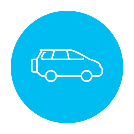 minivan: Minivan line icon for web, mobile and infographics. Vector white icon on the light blue circle isolated on white background.