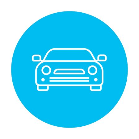 graphics design: Car line icon for web, mobile and infographics. Vector white icon on the light blue circle isolated on white background.
