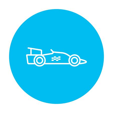 bolide: Race car line icon for web, mobile and infographics. Vector white icon on the light blue circle isolated on white background.