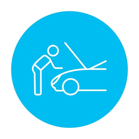 fixing: Man fixing car line icon for web, mobile and infographics. Vector white icon on the light blue circle isolated on white background. Illustration