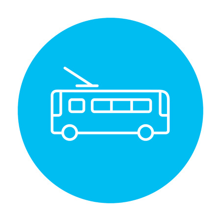 trolleybus: Trolleybus  line icon for web, mobile and infographics. Vector white icon on the light blue circle isolated on white background.