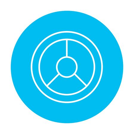 Steering wheel line icon for web, mobile and infographics. Vector white icon on the light blue circle isolated on white background. Illustration