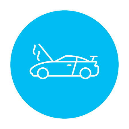 overheat: Broken car with open hood line icon for web, mobile and infographics. Vector white icon on the light blue circle isolated on white background. Illustration