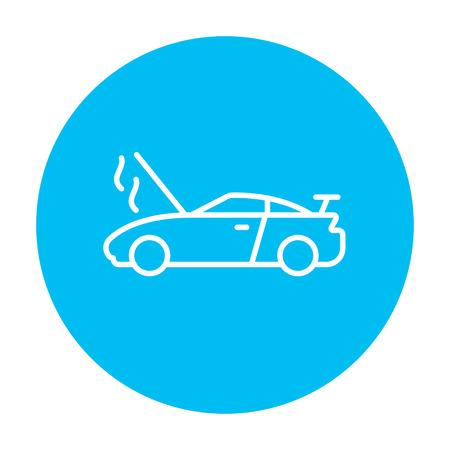 Voiture rompu avec open icône de la ligne de capot pour le web, le mobile et l'infographie. Vecteur icône sur le cercle bleu clair isolé sur fond blanc. Banque d'images - 49892402
