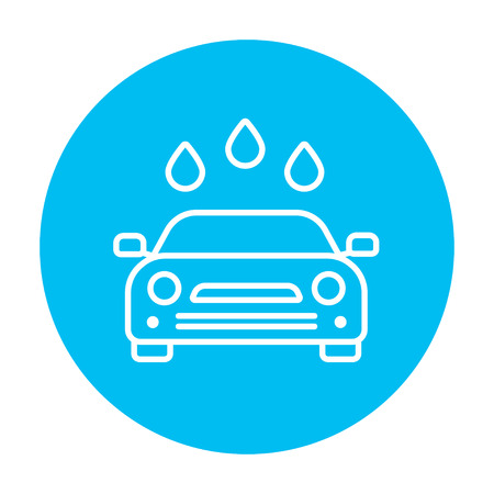 Car wash line icon for web, mobile and infographics. Vector white icon on the light blue circle isolated on white background. 矢量图像