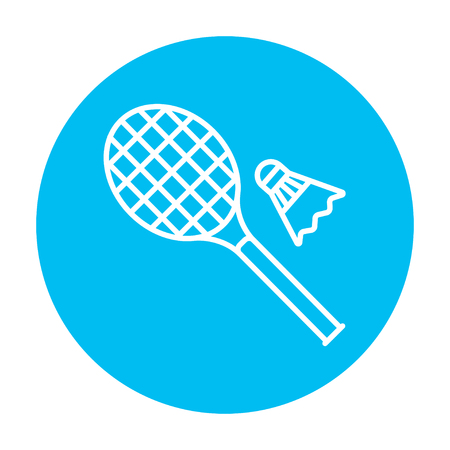badminton racket: Shuttlecock and badminton racket line icon for web, mobile and infographics. Vector white icon on the light blue circle isolated on white background.