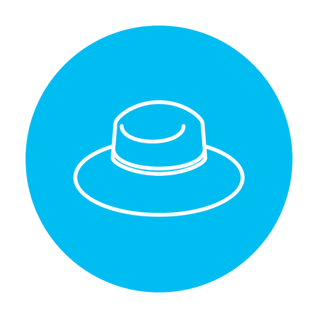 Summer hat line icon for web, mobile and infographics. Vector white icon on the light blue circle isolated on white background. Stock fotó - 49892609