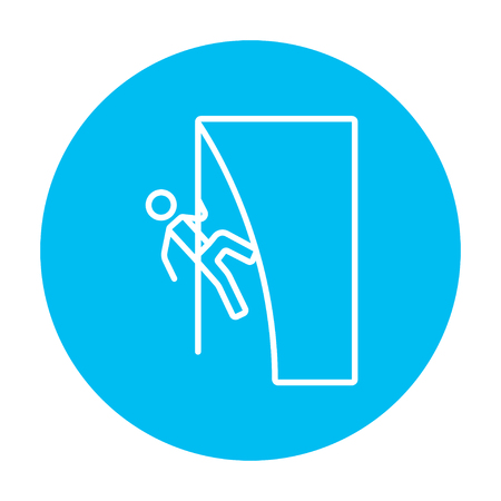 cling: Rock climber climbing an overhanging cliff line icon for web, mobile and infographics. Vector white icon on the light blue circle isolated on white background. Illustration