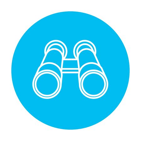 Binocular line icon for web, mobile and infographics. Vector white icon on the light blue circle isolated on white background. Ilustração