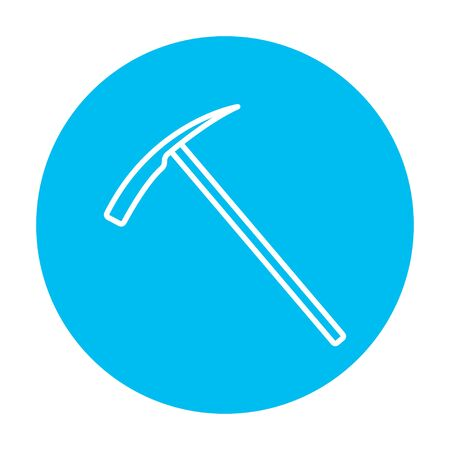ice axe: Ice pickaxe line icon for web, mobile and infographics. Vector white icon on the light blue circle isolated on white background.