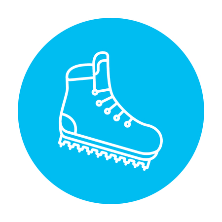 crampons: Hiking boot with crampons line icon for web, mobile and infographics. Vector white icon on the light blue circle isolated on white background. Illustration