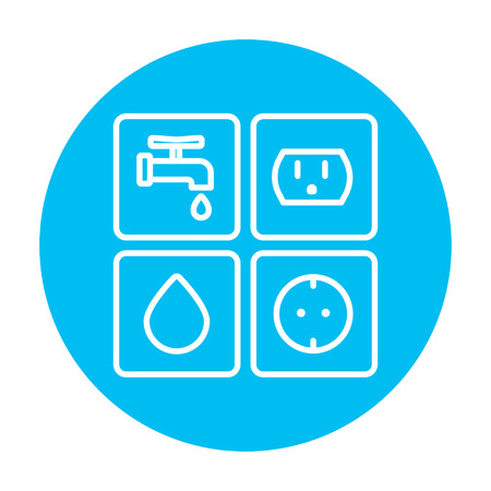utilities: Utilities signs electricity and water line icon for web, mobile and infographics. Vector white icon on the light blue circle isolated on white background.