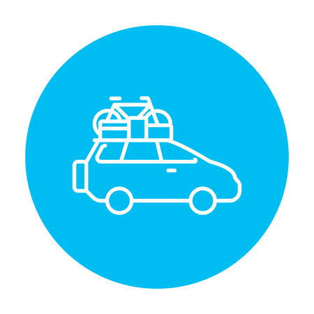 mini bike: Car with bicycle mounted to the roof line icon for web, mobile and infographics. Vector white icon on the light blue circle isolated on white background.