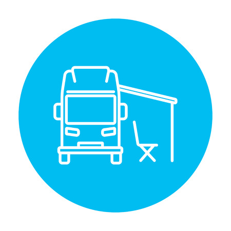 home icon: Motorhome with tent line icon for web, mobile and infographics. Vector white icon on the light blue circle isolated on white background.