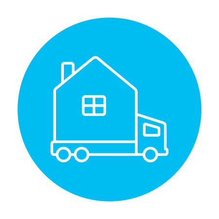 motorhome: Motorhome line icon for web, mobile and infographics. Vector white icon on the light blue circle isolated on white background.