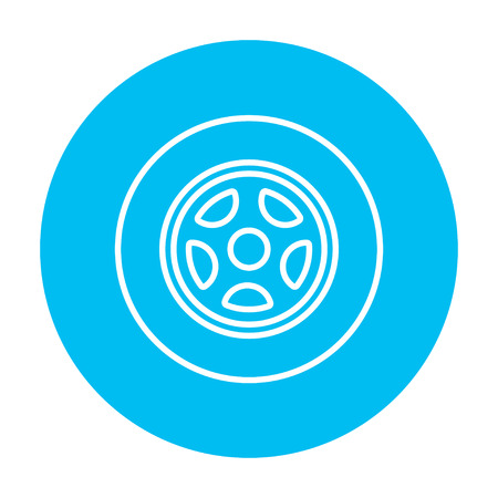 web element: Car wheel line icon for web, mobile and infographics. Vector white icon on the light blue circle isolated on white background.