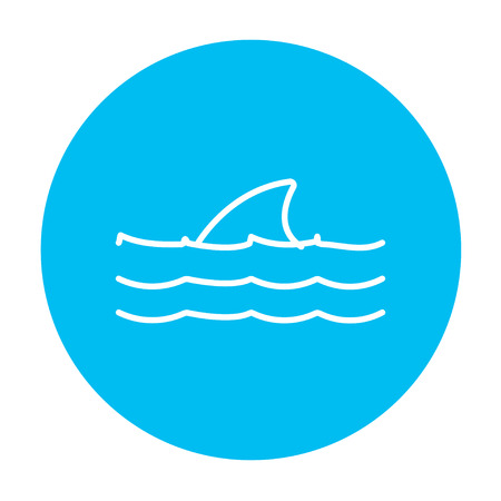 dorsal: Dorsal shark fin above water line icon for web, mobile and infographics. Vector white icon on the light blue circle isolated on white background.