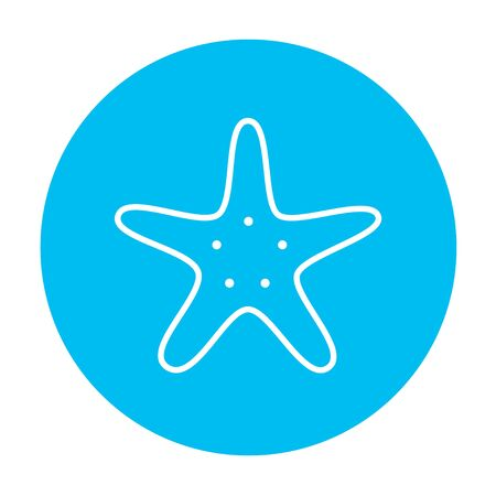 seafish: Starfish line icon for web, mobile and infographics. Vector white icon on the light blue circle isolated on white background. Illustration
