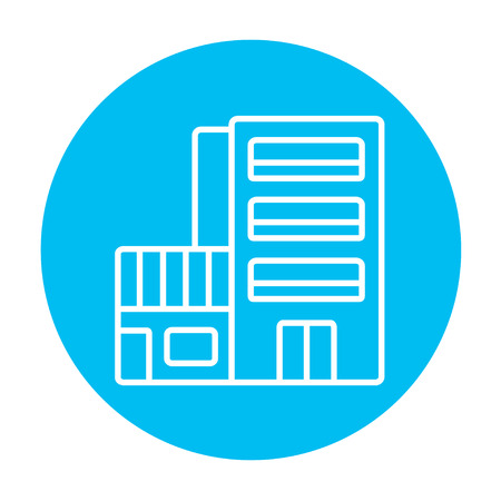 multi storey: Hotel building line icon for web, mobile and infographics. Vector white icon on the light blue circle isolated on white background.