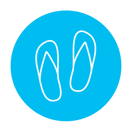 flipflop: Beach slipper line icon for web, mobile and infographics. Vector white icon on the light blue circle isolated on white background.