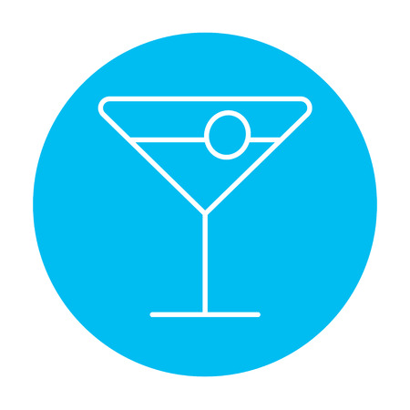 Cocktail glass line icon for web, mobile and infographics. Vector white icon on the light blue circle isolated on white background.