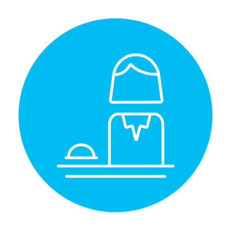 femal: Femal receptionist line icon for web, mobile and infographics. Vector white icon on the light blue circle isolated on white background. Illustration