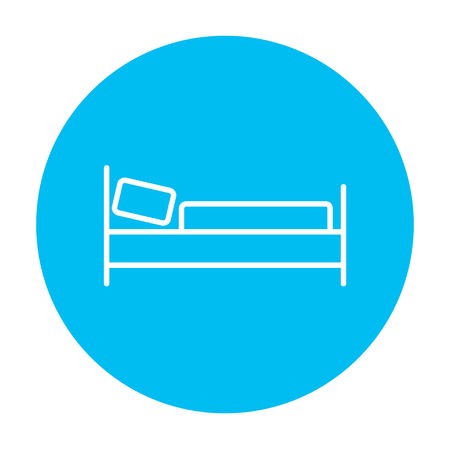 Bed line icon for web, mobile and infographics. Vector white icon on the light blue circle isolated on white background. 向量圖像