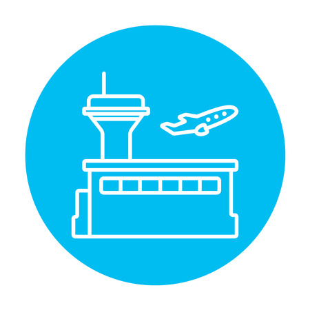 avia: Plane taking off line icon for web, mobile and infographics. Vector white icon on the light blue circle isolated on white background.