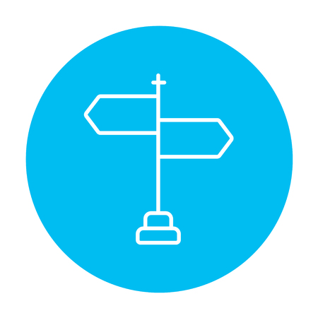 multidirectional: Travel traffic sign line icon for web, mobile and infographics. Vector white icon on the light blue circle isolated on white background.